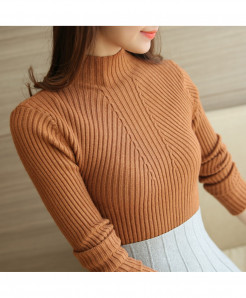 SURE XIAO Khaki  Long Sleeve Turtleneck Pullovers Tops Sweater