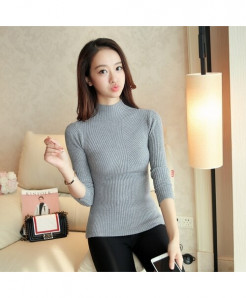 SURE XIAO Gray Long Sleeve Turtleneck Pullovers Tops Sweater