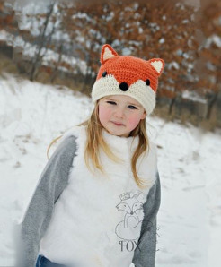 Cute Cartoon Fox Handmade Beanies Kids Winter Knitted Hats