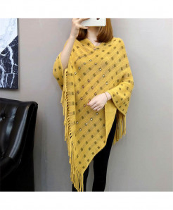 Yellow  Knitted Tassels Long Of The Shawl Loose Cape Coat Shirt