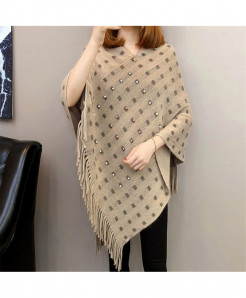 Khaki Knitted Tassels Long Of The Shawl Loose Cape Coat Shirt