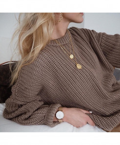 Hirsionsan Coffee Loose Autumn Knitted Sweater