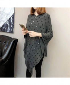 Dark Gray Knitted Tassels Long Of The Shawl Loose Cape Coat Shirt