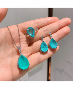 Wong Rain Blue 925 Sterling Silver Paraiba Tourmaline Gemstone Drop Style Jewelry Set