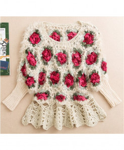 White Short Hollow Flowers Style Sweater