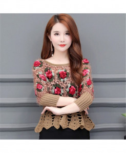 Khaki Short Hollow Flowers Style Sweater