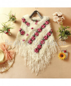 AUFYSO  Mohair Floral Single Hollow Swing Crochet Sweater
