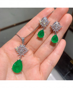 Wong Rain Green 925 Sterling Silver Pear Emerald Gemstone Jewelry Set