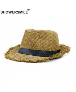 SHOWERSMILE Khaki Straw Panama Beach Hat