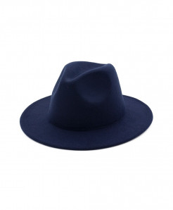 ltnshry Navy Blue Fedoras Big Brim Hat
