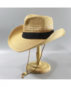 Fedoras Khaki Foldable Cowboy Black Stripe Hat