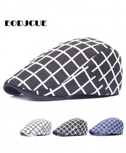 Black Plaid Pattern Cotton Golf Driving Beret Cabbie Hat