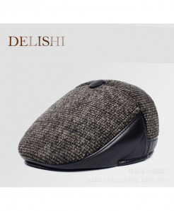 DELISHI Brown Thick Warm Ear Patch Style Beret Cap