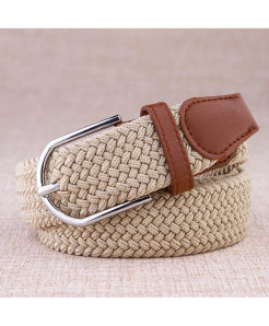Noocuxuekon Sky Beige Elastic Canvas Knitted Buckle Adjustable Belt