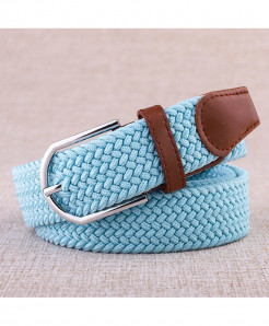 Noocuxuekon Sky Blue Elastic Canvas Knitted Buckle Adjustable Belt
