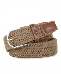 Noocuxuekon Khaki Elastic Canvas Knitted Buckle Adjustable Belt