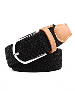Noocuxuekon Black Elastic Canvas Knitted Buckle Adjustable Belt