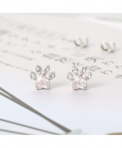 LAMOON  White Cat Paw 925 Sterling Silver Stud Earrings