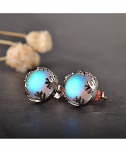 Moonlight Light Blue Aurora Borealis Earrings