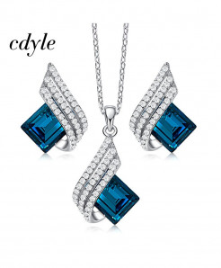 Cdyle 925 Sterling Silver Blue Zircon Jewelry Set
