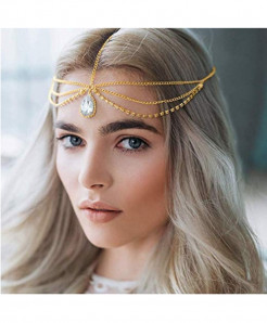Missgrace Golden Chain Rhinestone Bridal Head Chain