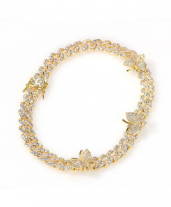 Stonefans Bling Cuban Chain Iced Out Golden Anklet Bracelet
