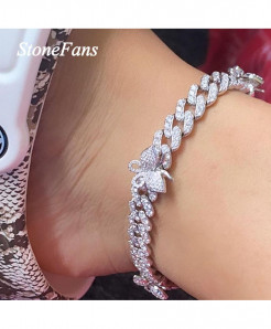 Stonefans Bling Cuban Chain Iced Out Silver Anklet Bracelet