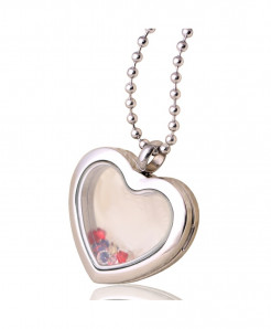 Fashion Stainless Steel Heart Case Glass Slide Charms Locket