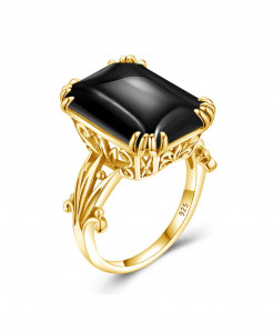Szjinao Sterling Silver Gemstones Black Onyx Designer Shiny Golden Ring
