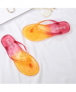 LCIZRONG Gradient Red  Jelly Transparent Flip Flops Beach Flat Slippers