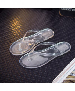 LCIZRONG White Jelly Transparent Flip Flops Beach Flat Slippers