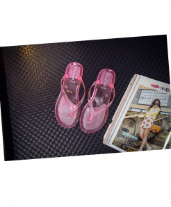 LCIZRONG Pink Jelly Transparent Flip Flops Beach Flat Slippers