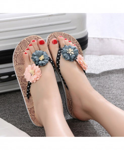 Pink Gray Flowers Strap Flat  Beach Slippers