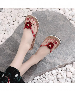 Red Flower Red Strap Flat  Beach Slippers