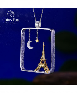 Lotus Fun Real 925 Sterling Silver Eiffel Tower Design Pendant