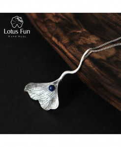 Lotus Fun Real 925 Sterling Silver Natural Leaf Pendant