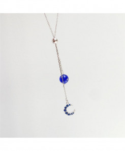 Sole Memory Dark Blue Zircon Moon Tassel Ball Silver Clavicle Chain Necklace