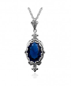 Sapphire Gemstone Vintage Pendant Ruby Necklace