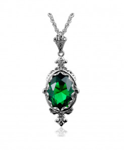 Green Gemstone Vintage Pendant Ruby Necklace