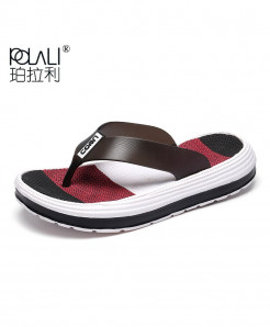 POLALI  Red Casual Flip Flops Beach Slippers