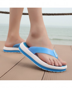 POLALI  Blue Casual Flip Flops Beach Slippers