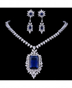Emmaya Zircons AAA Quality Cubic Zirconia Big Rectangular Royal Blue Bridal Jewelry Set