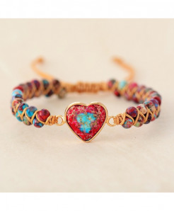 Red Love Stone Heart String Braided Charm Bracelet
