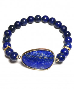 Watch Style Blue Natural Stone Bracelet (8mm beads)