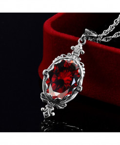 Red Gemstone Vintage Pendant Ruby Necklace