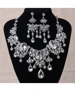 Silver Beads Big Rhinestone Water Drop Statement Jewelry Set