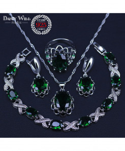 Silver Color Green Cubic Zirconia White Crystal Jewelry Set
