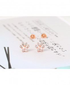 LAMOON  Rose Cat Paw 925 Sterling Silver Stud Earrings