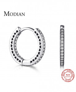 Modian Real 925 Sterling Silver Classic Full Hearts Hoop Earrings