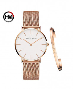 Hannah Martin Waterproof Rose Golden White Stainless Steel Mesh Ladies Watch